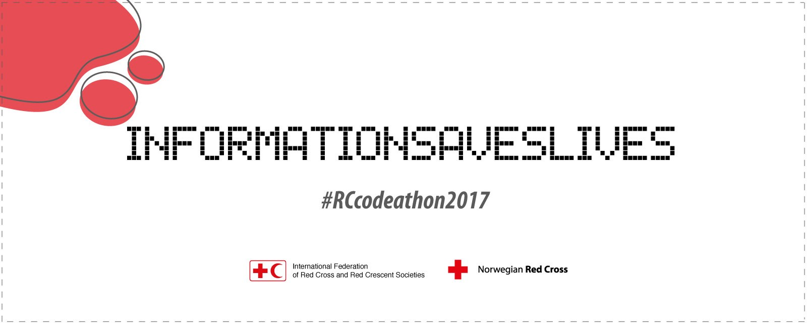 Codeathon banner white background with black Cell phone digits saying information saves lives