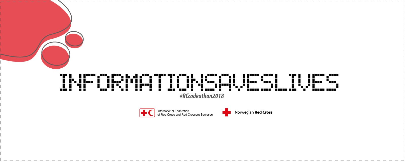 Codeathon banner white background with black Cell phone digits saying information saves lives 2018