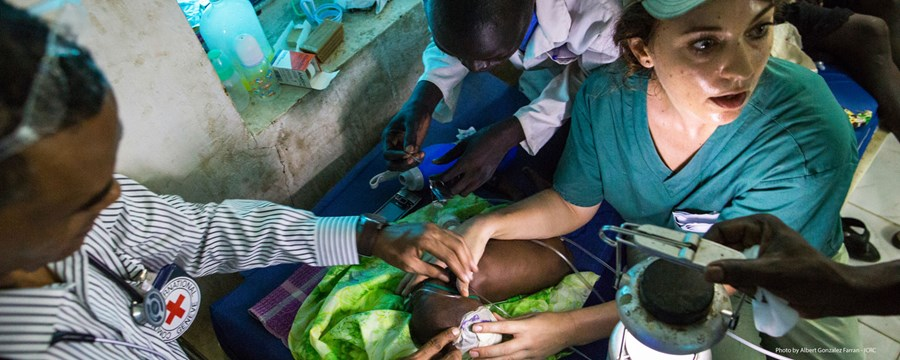 5 May 2016. Maiwut: (Right) pediatrist Jessica Hazelwood attends a baby at the Intensive Care Unit of the hospital supported by the International Committee of the Red Cross (ICRC) in Maiwut, South Sudan.